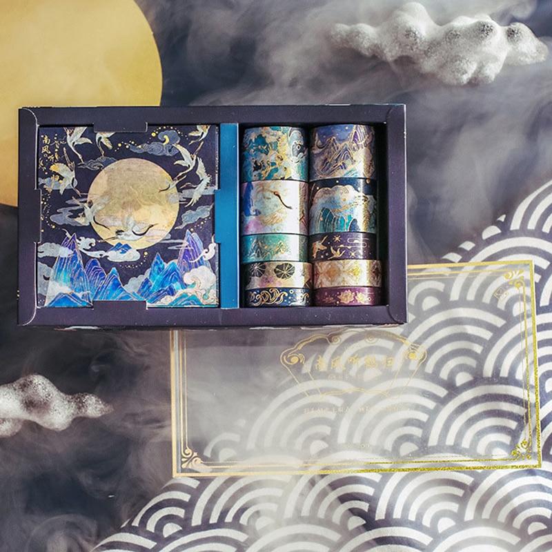 20 Pcs/Box Gold Foil Washi Tape Sticker Set Cute Flower Masking Tape Vintage Decorative Adhesive Tape for Arts Craft Stationery