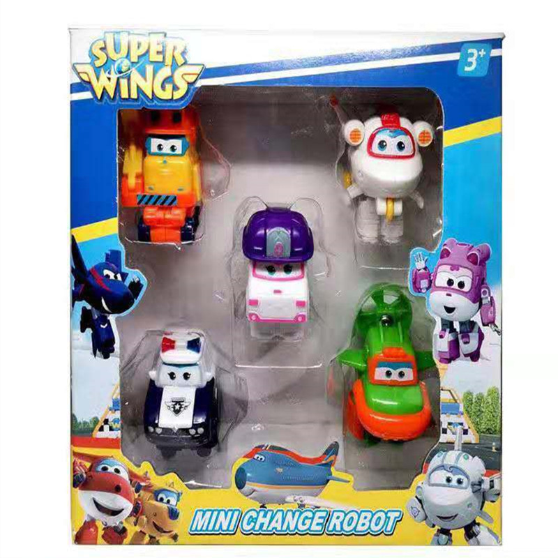 5 шт./компл. модель Super Wings, мини-игрушка-самолет, трансформер, самолет, робот, фигурки, игрушка