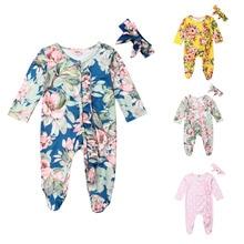 Одежда с цветочным принтом для новорожденных девочек комбинезон с длинными рукавами, комбинезон с повязкой на голову, комплект осенней одежды для сна из 2 предметов для детей от 0 до 18 месяцев
