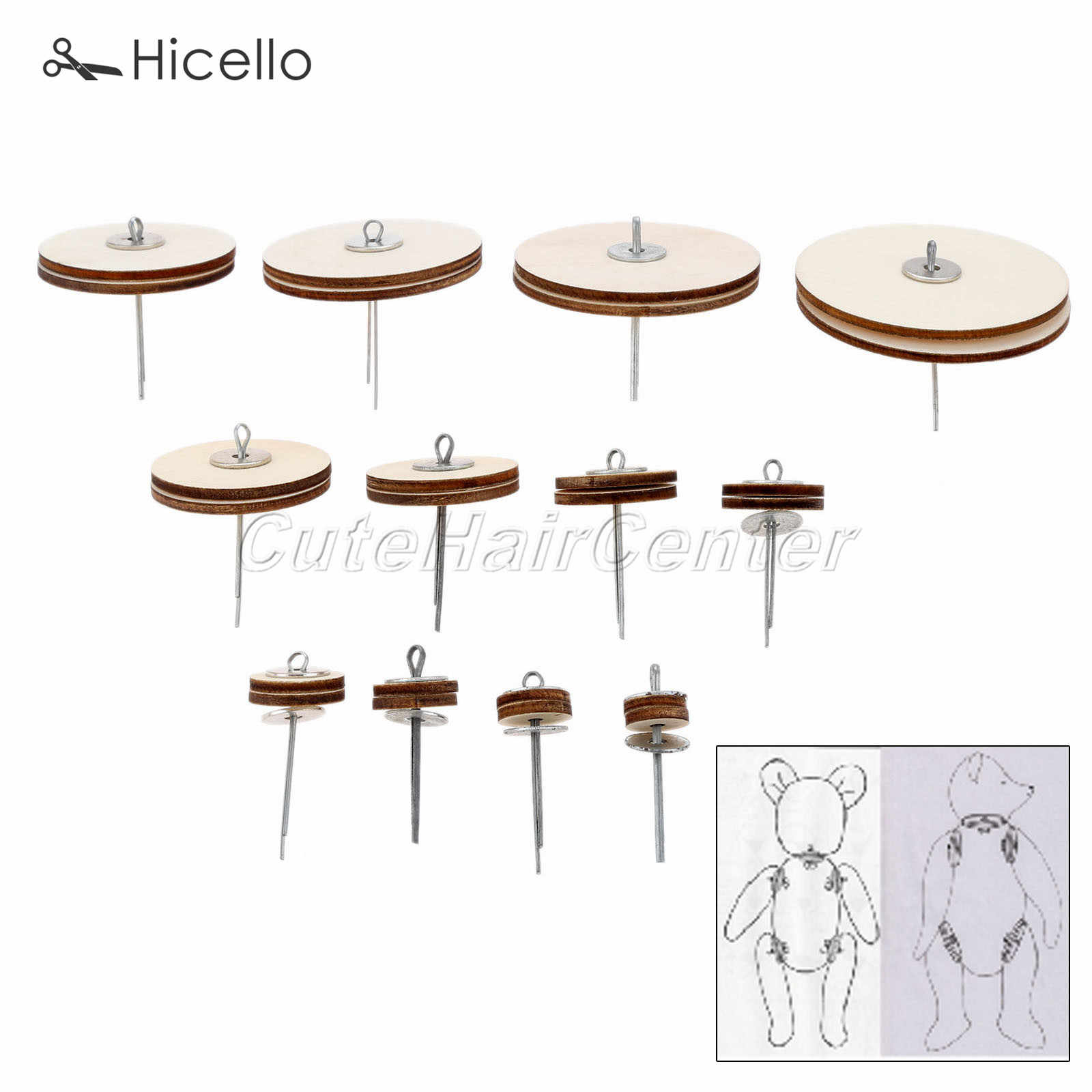 10Pcs Wood Joints Connectors for Teddy Bear Handmade Craft Children Kids Toy DIY
