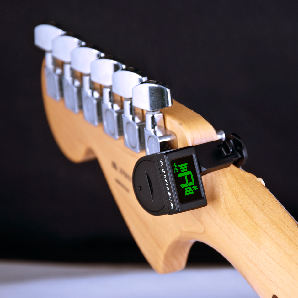 JT-306 Mini Guitar Tuner Digital LCD Clip On Tuner For Electric Acoustic Classic Guitar Chromatic Guitar Bass Free Shipping