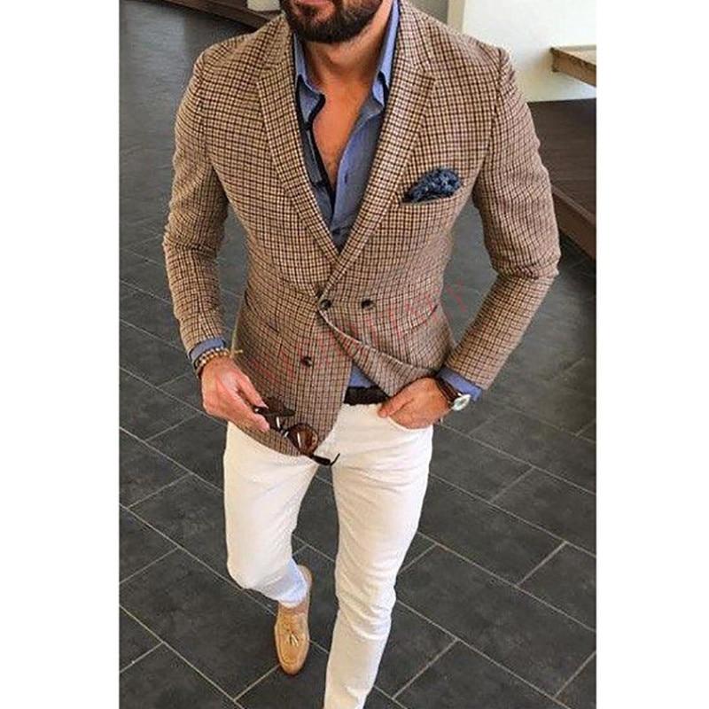 2020 Fashion Lattice Men's Suit Slim Fit Prom Wedding Suits for Men Groom Tuxedo Jacket Pants Set Custom White Casual Men Blazer 2