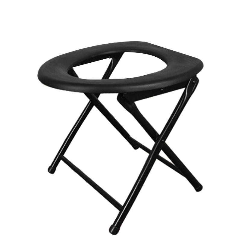 Portable Strengthened Foldable Toilet Chair Travel Camping Climbing Fishing Mate Chair Outdoor Activity Accessories (Black)