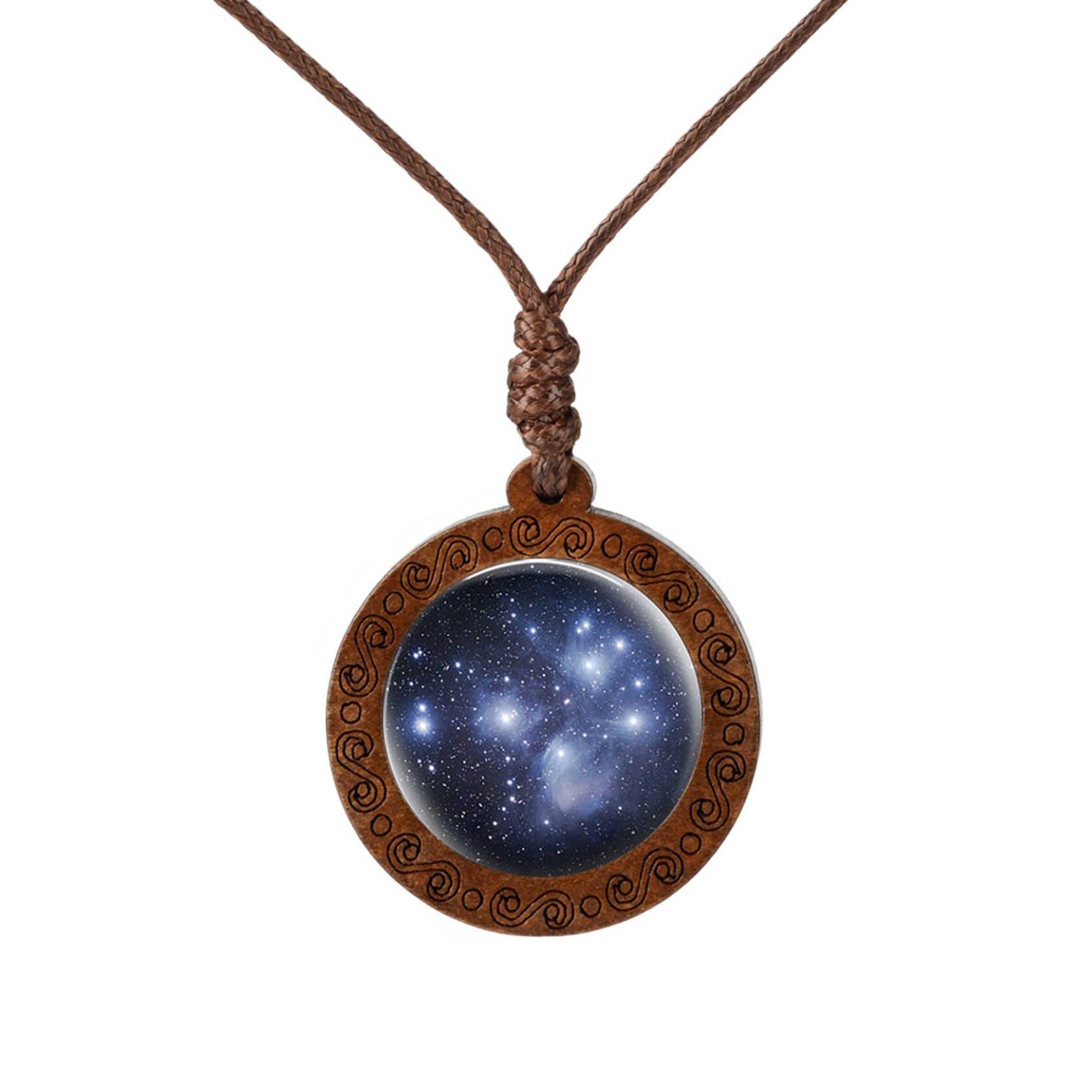 Phong Cách Mới Galaxy Tinh Vân Cổ Không Gian Trái Đất Kính Cabochon Gỗ Mặt Dây Chuyền Vòng Cổ Trang Sức Dành Cho Nữ Người Bạn Thân Nhất Quà Tặng