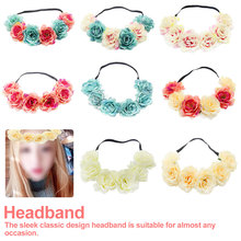 Bohemia Beach Party Hair Accessories Women Flower Crown Headband Elastic Fashion Girls Hair Bands Wreath Garland 2017 new 10pcs lot beach hair accessories kids flower headband bohemian style wreath garland girls birthday party hairband