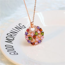 KERASTASE Accessories Mona Lisa Color Zircon Necklace Blooming Flowers And Full Moon Necklace Pendant Hot Selling(China)