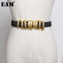 [EAM]  Black Elastic Band Split Joint Metal Circle Long Belt Personality Women New Fashion Tide All match Spring 2020 1R113