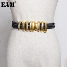 EAM bande élastique noire pour femmes, ceinture fendue, cercle métallique, longue, personnalité, nouvelle tendance, assortie avec tout, printemps 2020 1R113