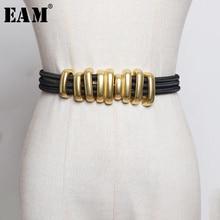 EAM correa elástica negra para mujer, cinturón largo con círculo de Metal dividido, a la moda, combina con todo, primavera 2020, 1R113