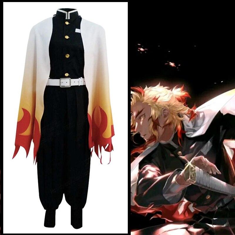 Anime demonio asesino Kimetsu No Yaiba Cosplay disfraces Rengoku Kyoujurou del traje de Cosplay de Halloween ropa de Kimono hoja de demonio