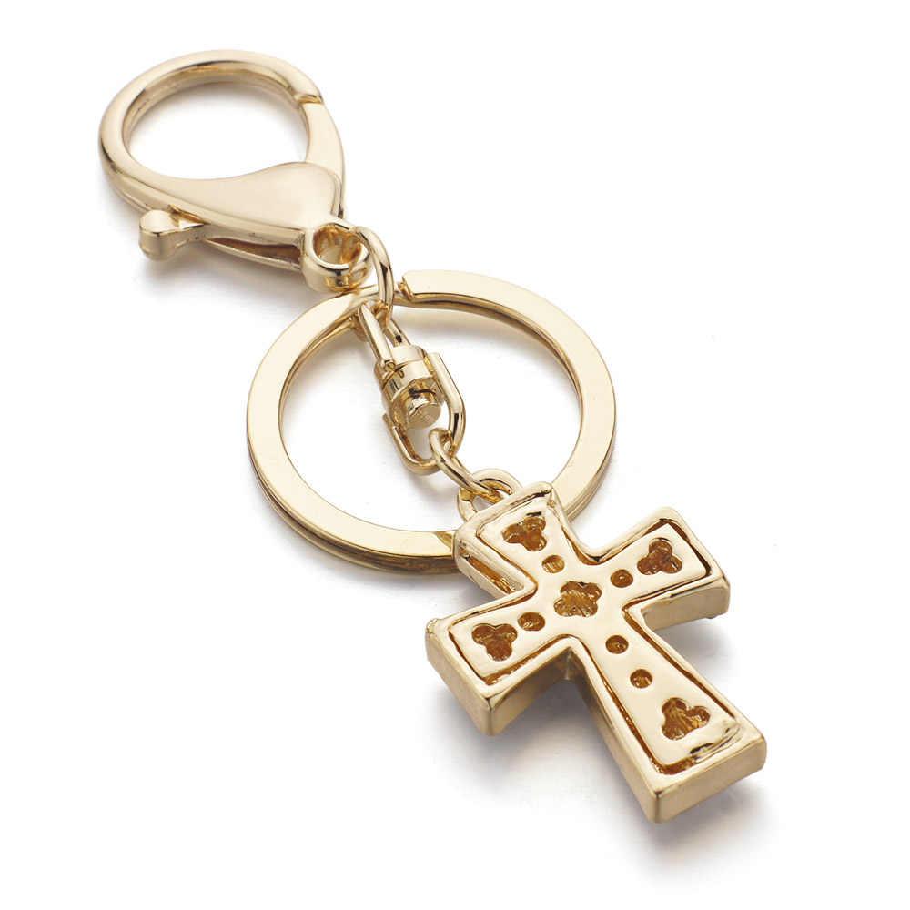 Dalaful, изысканный кристалл, крест, брелки, брелки, шикарный кошелек, сумка, подвеска для автомобиля, для женщин, брелки, держатель, кольца, K310