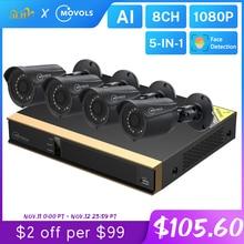 Movols 8CH Ai Cctv Camera Systeem 4Pcs 2MP Outdoor Weerbestendige Bewakingscamera Dvr Kit H.265 Home Video Surveillance System