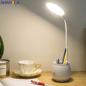 Flexo Led Table Lamps with Usb Touch Dimmable LED Stand Desk Light Reading Lamp Modern Flexible Study Lamp with Pen Holder