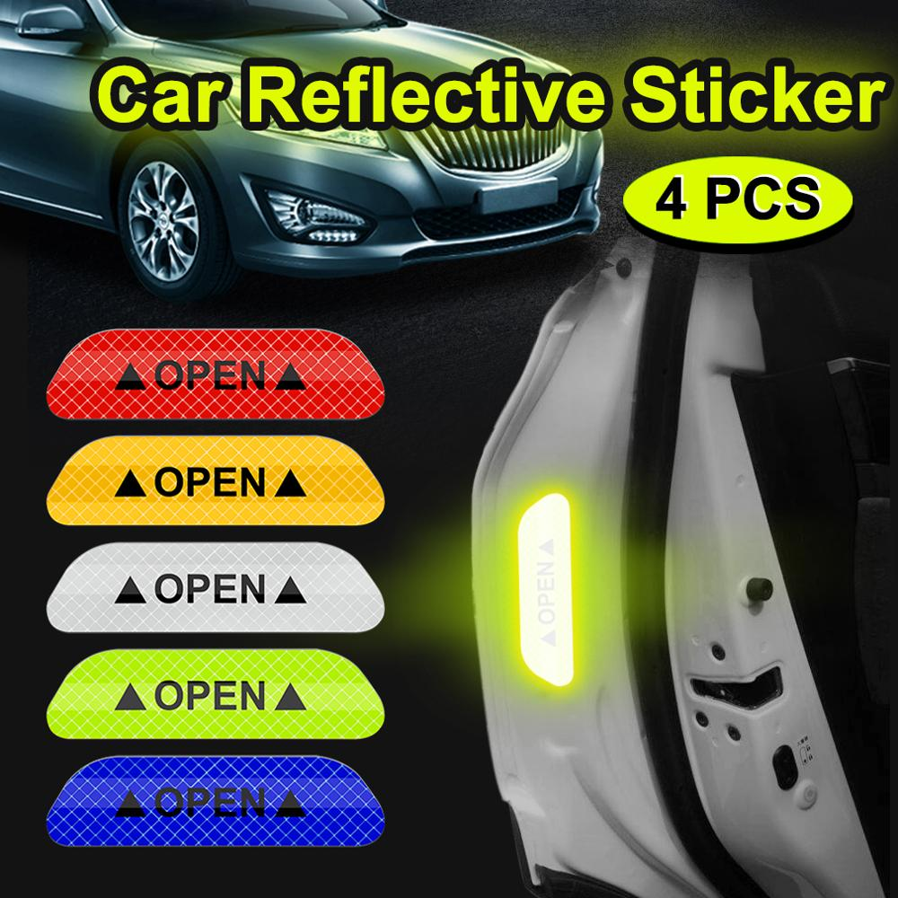4pcs Car Reflective Stickers Car Universal Safety Warning Mark OPEN High Door Stickers Auto Driving Safety Exterior Accessories