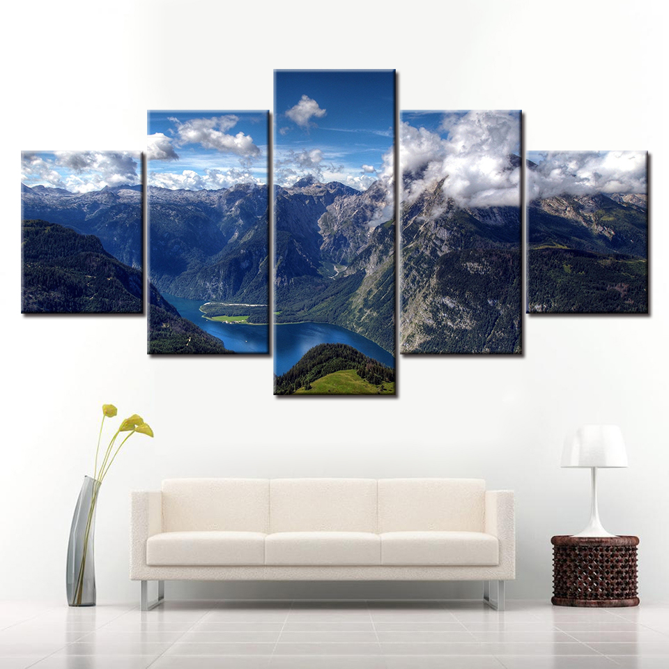 5 Panel Canvas Painting HD Summer alps mountain landscape Modular Wall Art Prints Pictures for Living Room Home Decor