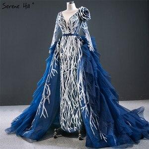 Image 3 - Dubai Blue Long Sleeve Flowers Evening Dresses 2020 Sequined Beading Luxury Sexy Formal Dress Serene Hill HM67079