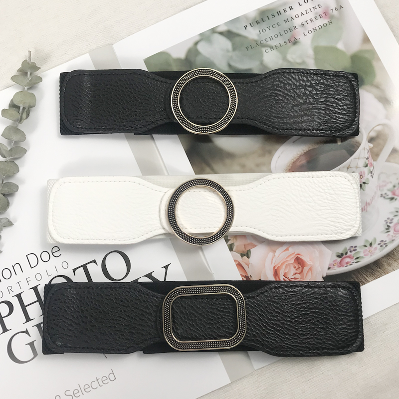 Fashion Designer Cummerbund Plus Size Corset Belt Black Leather Waist Belts For Women Wide Elastic Big Ceinture Femme Dress 2020