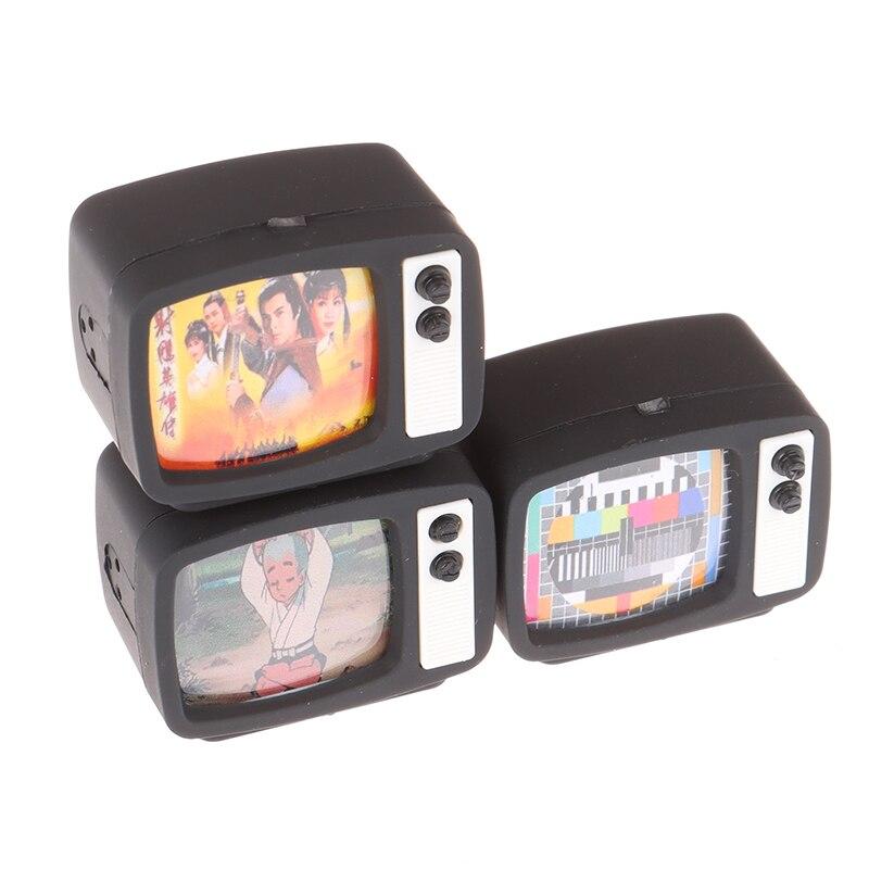 Novo 1 pçs 1:12 escala casa de bonecas em miniatura tv de tela plana televisão com imagem casa de bonecas acessórios brinquedo