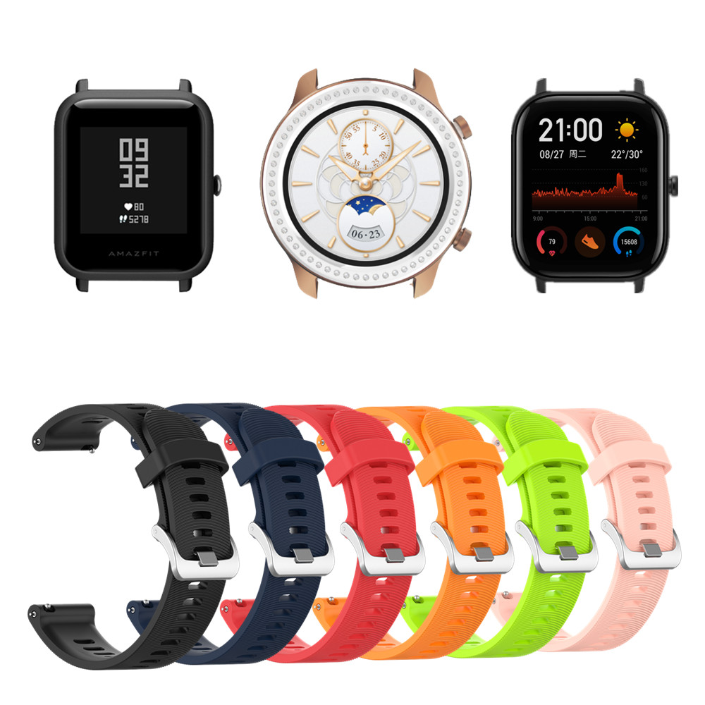 Smart Watch Strap Soft Silicone Band For Huami Amazfit GTR 42mm BIP GTS Bracelet 20mm Wristband Straps For Huawei Watch GT2 42mm