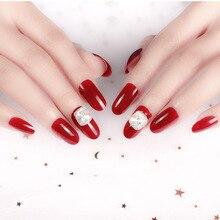 Винно-красный длинный круглый носок с стерео алмазным наконечником для ногтей готовая продукция поддельные ногти 24 шт Маникюрный дизайн-одежда