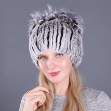 2019 Elastic Knitted Rex Rabbit Fur Beanies Women Real Hat 100% Natural Cap Wholesale and Retail