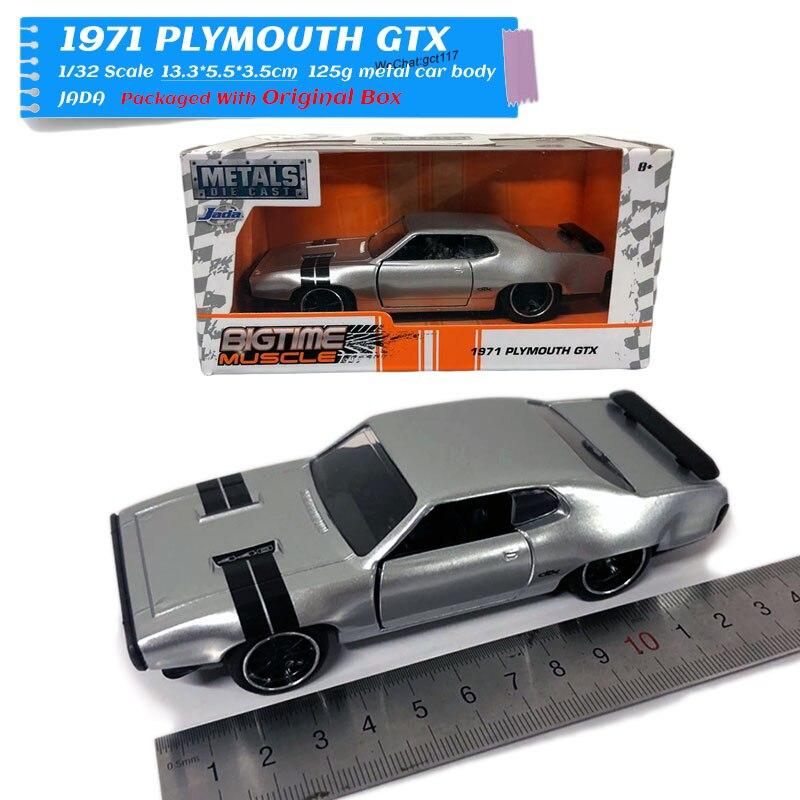 Juguete de modelo de coche a escala 1/32 de zada s 1971 Plymouth GTX, juguete de modelo de coche de Metal fundido a troquel para regalo, niños, colección Jada-simulador de Metal clásico, juguete de aleación fundida, coches de juguete clásicos para niños, colección de regalos de cumpleaños 1:24