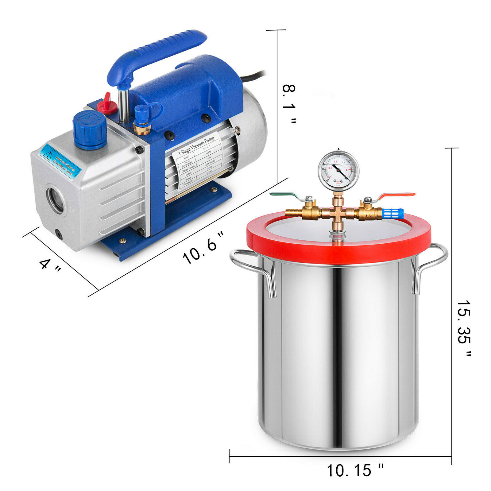 Vacuum Pump 2 Gallon Vacuum Chamber Silicone Expoxy Degassing With 4CFM 1/3HP Single Stage Vacuum Pump