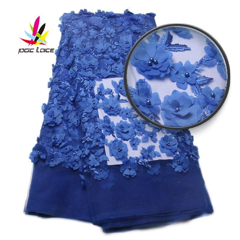 Ev ve Bahçe'ten Dantel'de Işlemeli mavi tül dantel yüksek kalite 3D kumaş çiçekler sıcak satış boncuklu dantel kumaş XZ810B 5 fransız dantel kumaş'da  Grup 1
