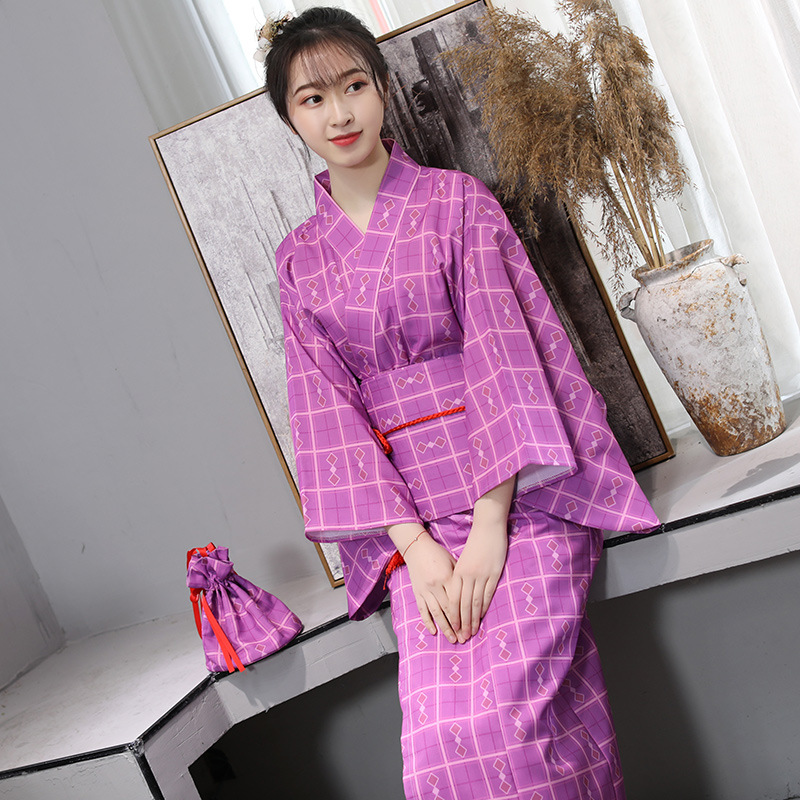 Kimono Performance Stage Costume Traditional Japanese Ladies Improved Kimono Robe Bathrobe Long Portrait Clothing Free Shipping