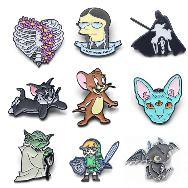 V111 Kat En Muis Grappige Metalen Emaille Pins En Broches Fashion Revers Pin Rugzak Zakken Badge Collectie Geschenken