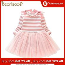 Striped Dress Ribbon-Costumes Bear-Leader Party-Outfits Children Clothing Girls Autumn