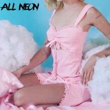 Allneonかわいいスパゲッティストラップシャーリングフロントパーティードレスレースe-ガール中空アウトウエストaラインミニドレス甘い夏ピンク