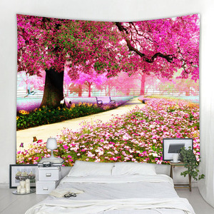 Boho decoration pink flower tapestry wall hanging tree hippie wall hanging psychedelic tapestry living room bedroom decoration