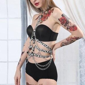 Image 5 - CEA koşum kadın leopar deri jartiyer seksi iç çamaşırı zincir Harajuku vücut ceket parti üst jartiyer kadın kemeri kemerleri