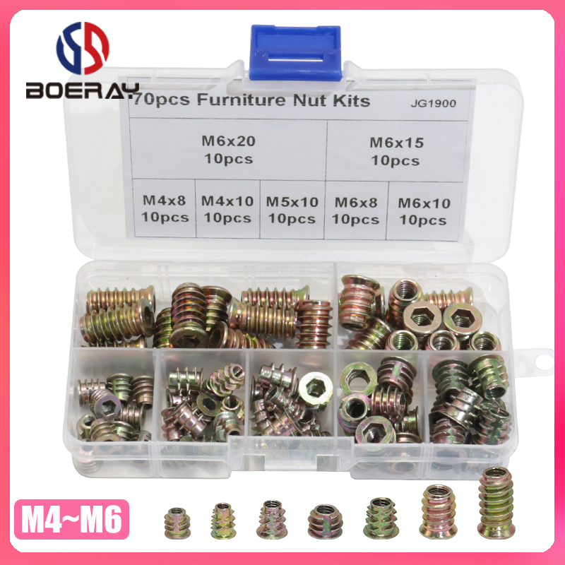 70pcs Zinc Alloy Furniture Wood Hex Socket Drive Threaded Insert Nut Assortment Kits