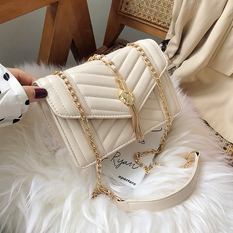 Elegant Female Flap Square Bag 2019 Fashion New Quality PU Leather Women's Designer Handbag Tassel Chain Shoulder Messenger Bag