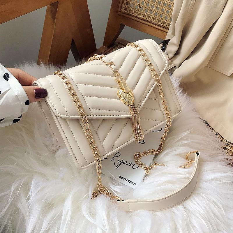 Elegant Female Flap Square Bag 2019 Fashion New Quality PU Leather Women's Designer Handbag Tassel Chain Shoulder Messenger Bag