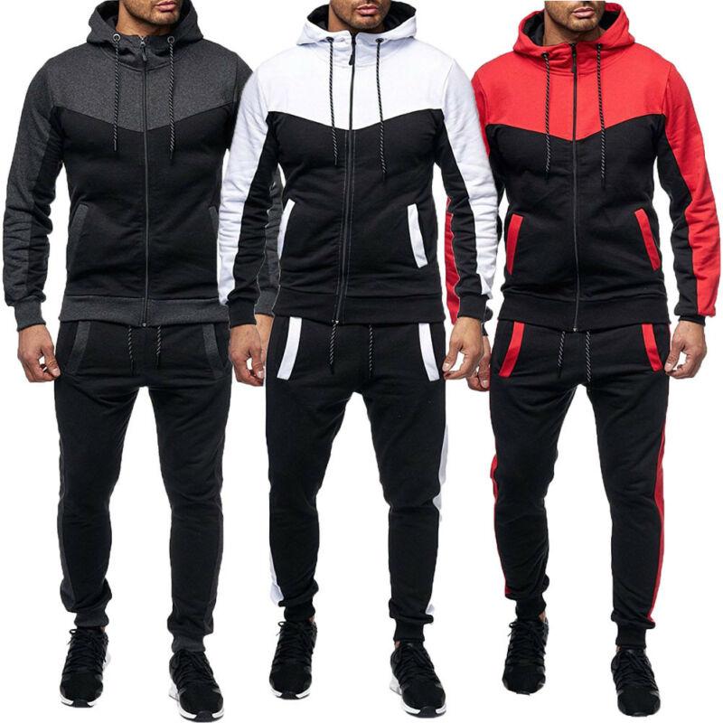 Men's Tracksuit Set 2 Pcs Autumn Winter Sweatshirt  Hooded Tops + Jogger Pants Jogger Sweatpants Patchwork Warm Sports Suit