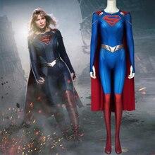 3D Supergirl Season 5 Costume Kara Zor-El Danvers Cosplay Superwoman Jumpsuit Halloween Costumes For Womloak Blue Bodysuit supergirl who is superwoman