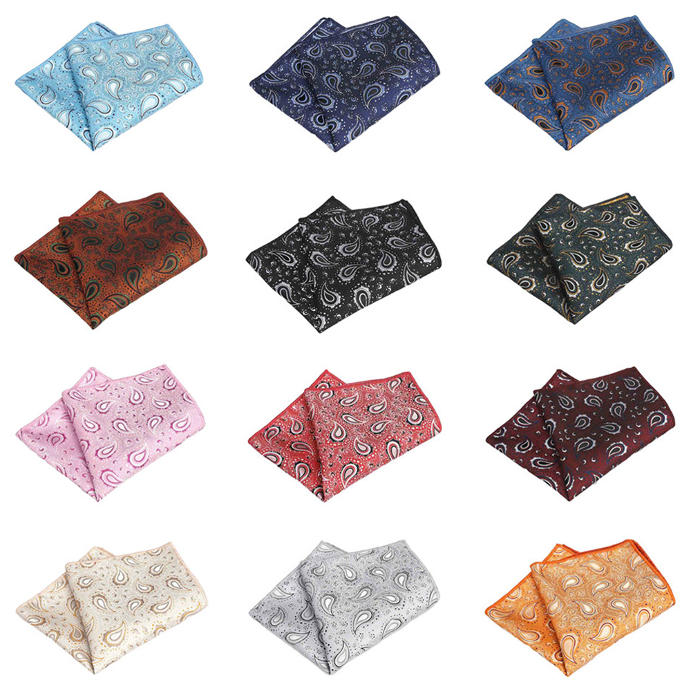 Men Paisley Flower Handkerchief Wedding Party Pocket Square Business Hanky