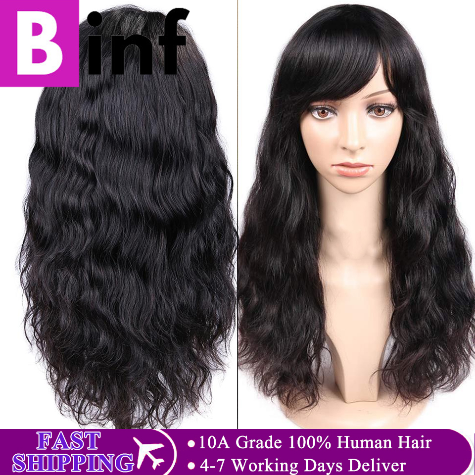 Natural Wave Human Hair Wigs With Bangs For Women BINF 22 Inches Indian Remy Hair Wigs Full Machine Wig 2020 Top Fashion Wig