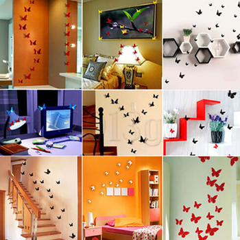 Removable Wall Stickers Simulation Solid Color Butterfly Stereo Refrigerator Waterproof Wall Sticker Beautify Home Decoration image