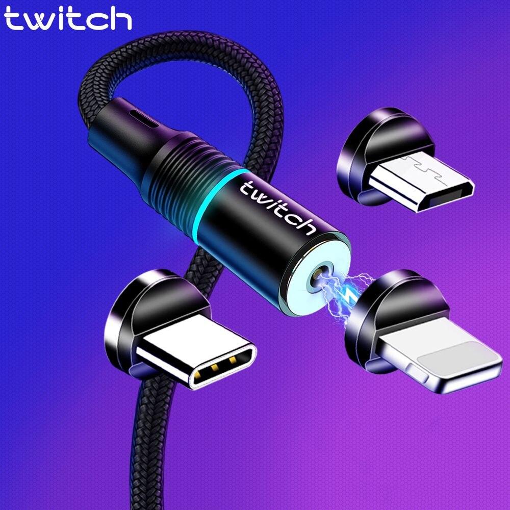 Twitch 2m magnétique Micro USB câble pour iPhone Samsung Android téléphone portable charge rapide câble de USB type C aimant chargeur fil