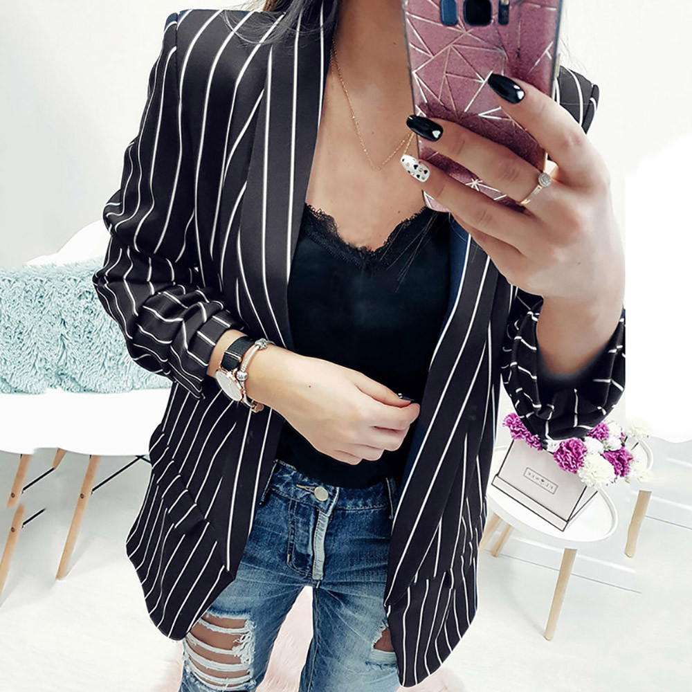 Autumn Women Blazer Suit Fashion Stripe Stylish Office Long Blazer Top Long Sleeve Notched Female Blazer Jacket Coat