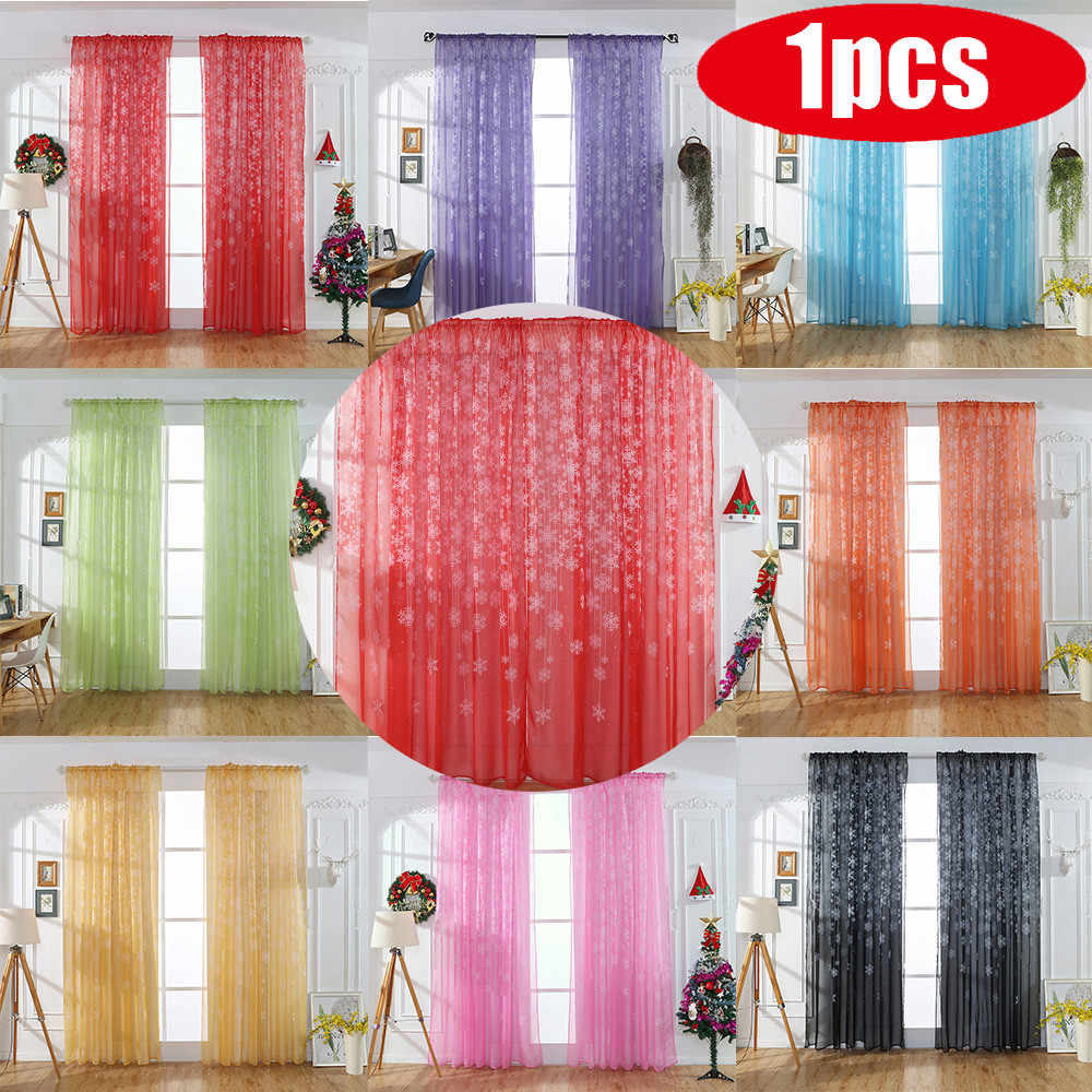 1PCS Christmas Snowflake Curtain Tulle Window Treatment Voile Drape Valance Modern Bedroom Living Room Christmas Curtain