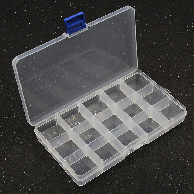 Yidensy 1pcs Square Transparent Plastic Storage Box Case 10/24 Slot Adjustable for Pils Jewelry Beads Earring Case Organizer 5