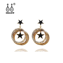 DREJEW Flower Star Round Square Statement Earrings Sets 925 Crystal Alloy Hoop for Women Weddings Fashion Jewelry HE796