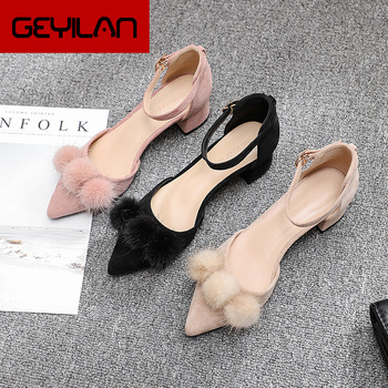 Mary Jane Shoes Pointed Heels Fur Heels Valentine Shoes Party Shoes Fetish High Heels Zapatos De Novia Chaussure Mariage Femme