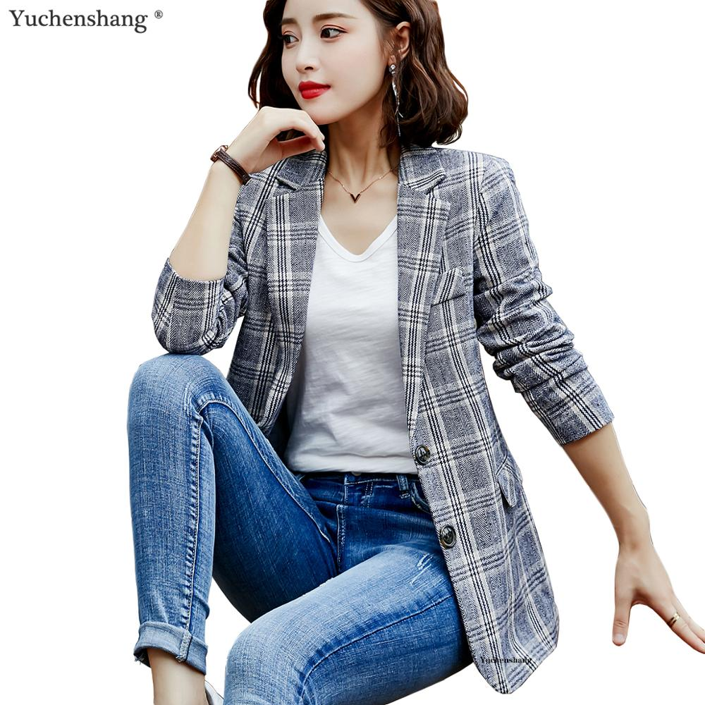 Blazer Women Girl Casual White Gray Brown Plaid Blazer New Fall Winter Single Breasted Long Jackets Coat S-4XL title=