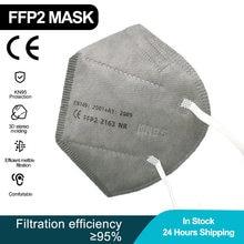 10-100 peças ffp2 ce máscara fpp2 aprovado kn95 mascarillas máscaras kn95 certificado cinza boca tampas máscara para homens 5 camadas
